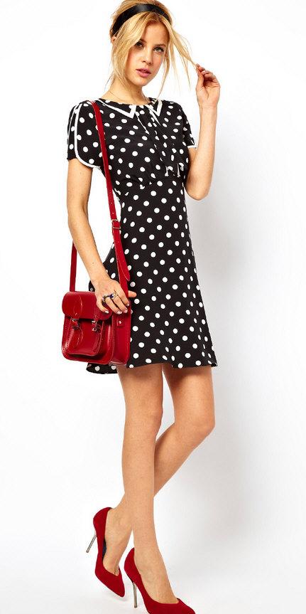 Всегда привлекательное и слегка игривое - платье в горошек